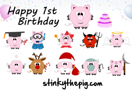 Happy 1st Birthday Stinkythepig 450x306 Happy birthday stinkythepig!