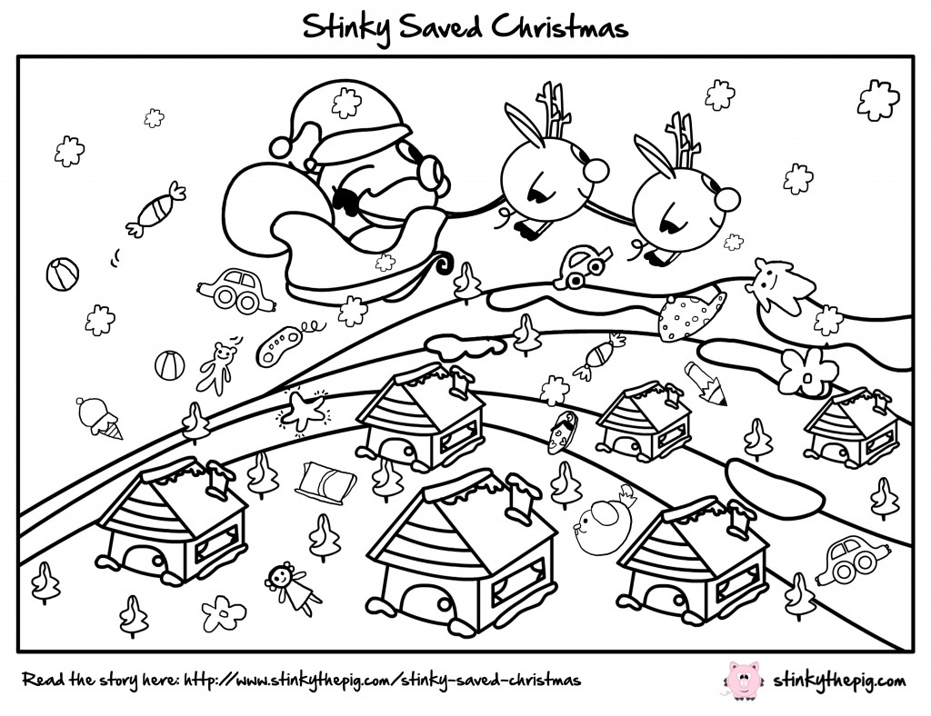 Stinky The Pig Stinky Saved Christmas Colour Me In 1024x788 Stinky Saved Christmas